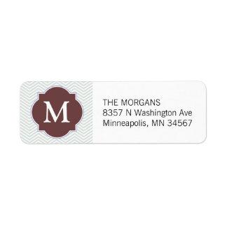 Gray & Salmon 5 Modern Chevron Custom Monogram Return Address Label