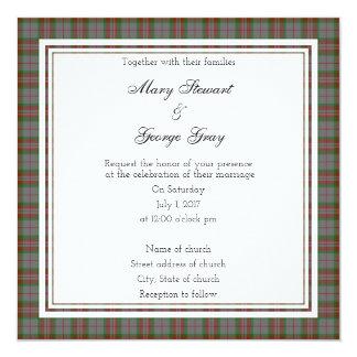 Gray Scottish Wedding Square Invitation