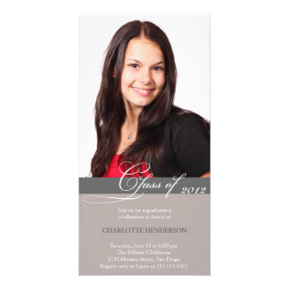 Gray script class of graduation announcement photo card