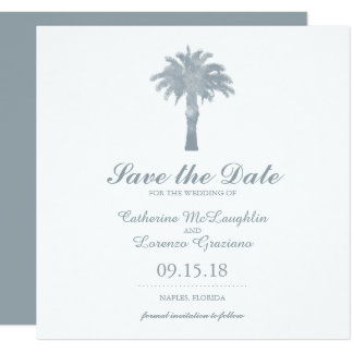 Gray Serene Palm Tree Watercolor | Save the Date Card
