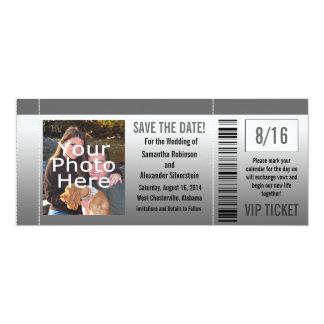 Gray Shades Photo Ticket 10 Cm X 24 Cm Invitation Card