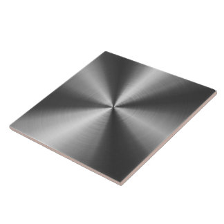 Gray Shiny Metallic Design Stainless Steel Look Large Square Tile