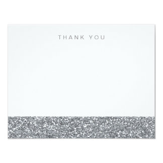 Gray Silver Faux Glitter Thank You 11 Cm X 14 Cm Invitation Card