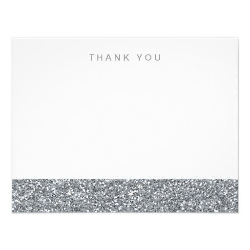 Gray Silver Faux Glitter Thank You Personalized Announcements