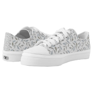 Gray / Silver Leaves on White Low Tops