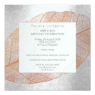 Gray Silver Pink Rose Gold Birthday Party 13 Cm X 13 Cm Square Invitation Card