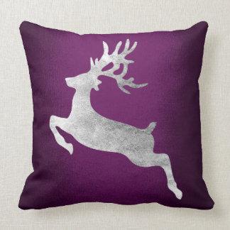 Gray Silver Reindeer Purple Plum Amethyst Cushion