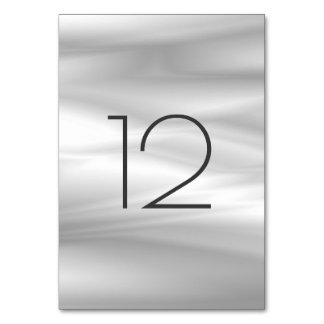 Gray Silver Silk White White Vertical Table Number