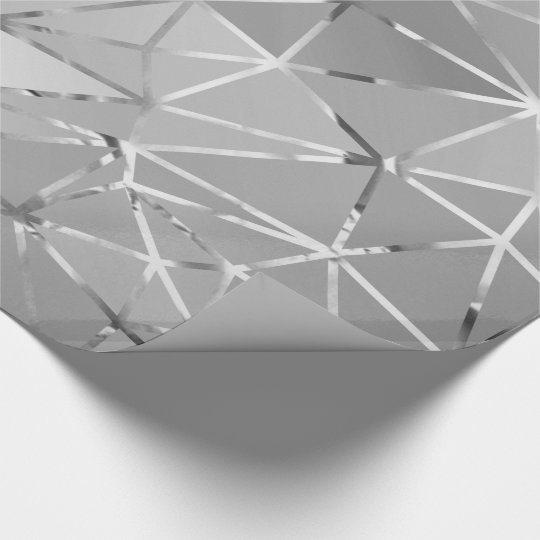 Gray Silver Triangles Diamond Cut Hexagon Geometry Wrapping