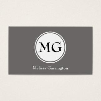 Gray Simple Circle Monogram Custom Business Cards