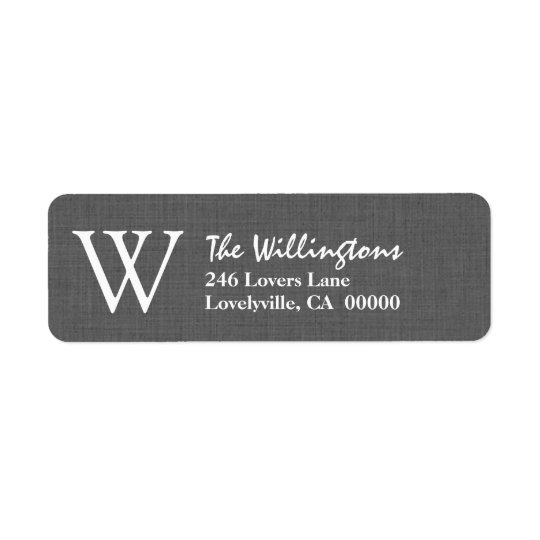 GRAY Simple Monogram W or Any Initial A019 Return Address Label