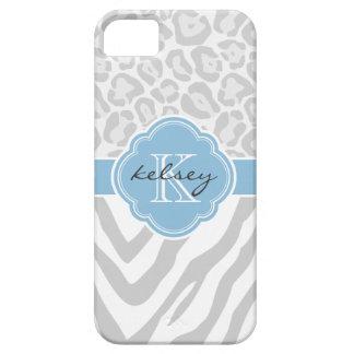 Gray & Sky Blue Animal Print Custom Monogram iPhone 5 Cover