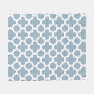 Gray Slate Blue White Ikat Quatrefoil Pattern Fleece Blanket