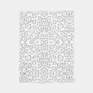 Gray Snow Leopard Cat Animal Print Fleece Blanket