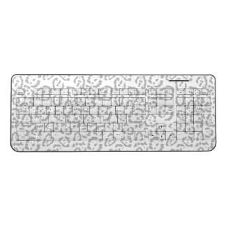 Gray Snow Leopard Cat Animal Print Wireless Keyboard