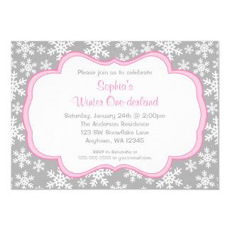 Gray Snowflakes Winter Onederland Birthday 13 Cm X 18 Cm Invitation Card