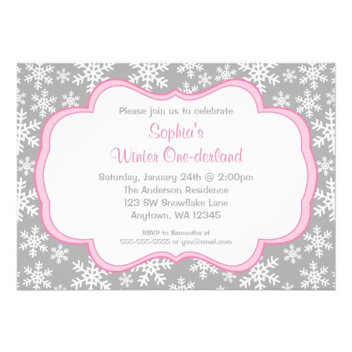 Gray Snowflakes Winter Onederland Birthday Personalized Invitations