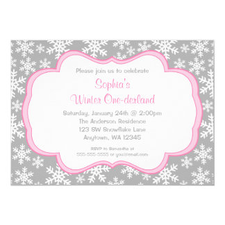 Gray Snowflakes Winter Onederland Birthday 5x7 Paper Invitation Card