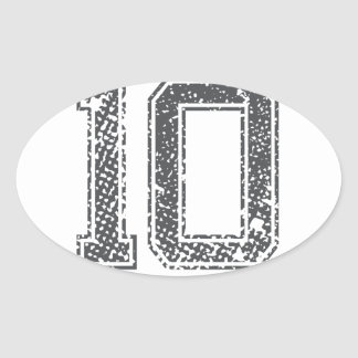 Gray Sports Jersey #10 Oval Sticker