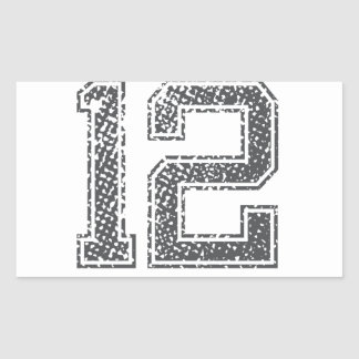 Gray Sports Jersey #12 Rectangular Sticker
