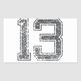 Gray Sports Jersey #13 Rectangle Stickers