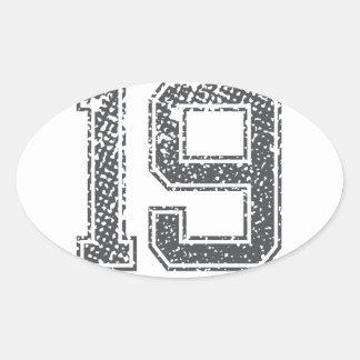 Gray Sports Jersey #19 Oval Sticker