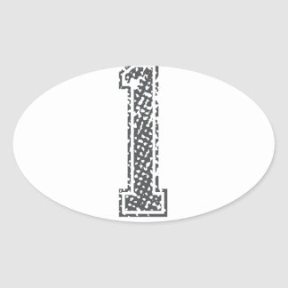 Gray Sports Jersey #1 Oval Stickers