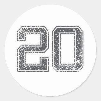 Gray Sports Jersey #20 Round Sticker