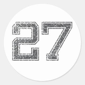 Gray Sports Jersey #27 Round Sticker