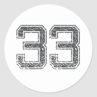 Gray Sports Jersey #33 Round Sticker