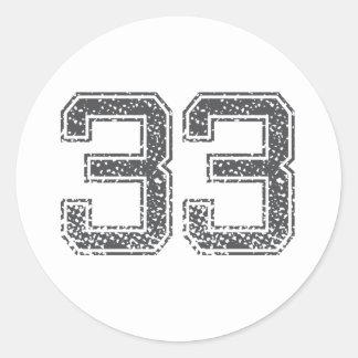 Gray Sports Jersey #33 Round Stickers