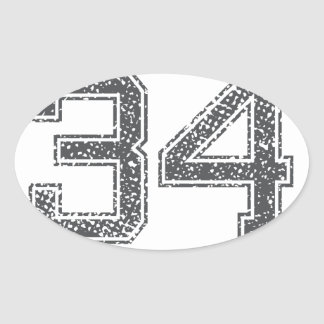 Gray Sports Jersey #34 Oval Stickers