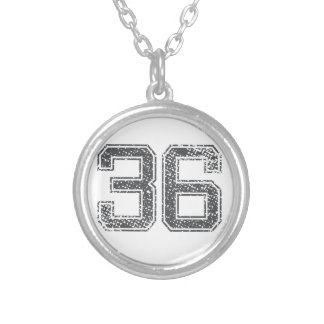Gray Sports Jersey #36 Silver Plated Necklace