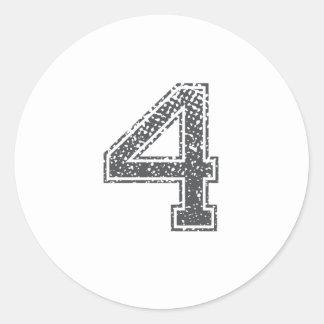 Gray Sports Jersey #4 Round Sticker