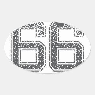 Gray Sports Jersey #66 Oval Sticker