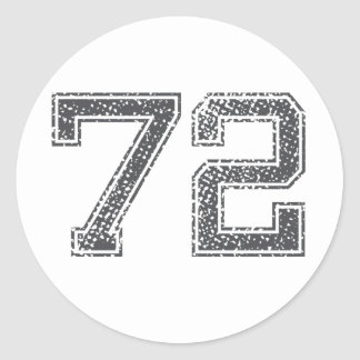 Gray Sports Jersey #72 Round Stickers