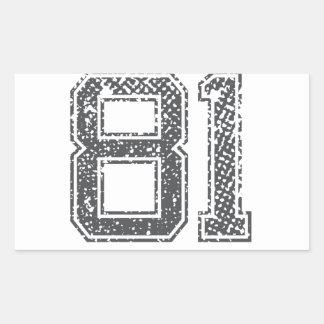 Gray Sports Jersey #81 Rectangular Sticker