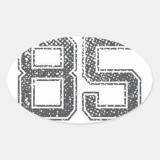 Gray Sports Jersey #85 Oval Sticker