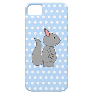 Gray Squirrel on Blue Polka Dot Pattern Case For The iPhone 5