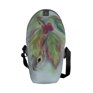 Gray Squirrel with Autumn Dogwood Messenger Bag