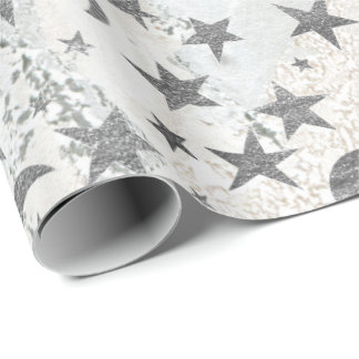 Gray Stars Moon Gold Sky Galaxy White Gray Marble Wrapping Paper