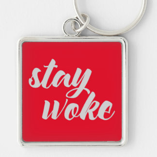 Gray Stay Woke Silver-Colored Square Key Ring