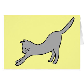Gray Stretching Cat on Yellow Greeting Card