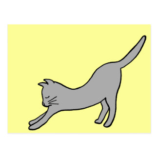 Gray Stretching Cat on Yellow Postcard