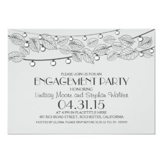 gray string lights & tree leaves engagement party 13 cm x 18 cm invitation card