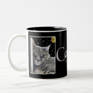 "Gray Striped Kitty Art ""Catnap"" Two-Tone Coffee Mug"