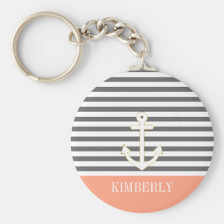 Gray Stripes Nautical Anchor Coral Monogram Basic Round Button Key Ring