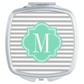 Gray Stripes with Mint Monogram Makeup Mirror