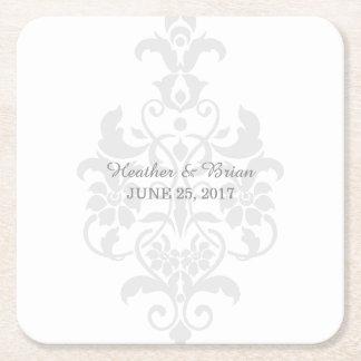 Gray Subtle Damask Paper Coasters Square Paper Coaster