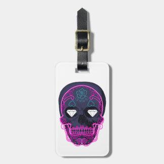 Gray Sugar Skull Luggage Tag